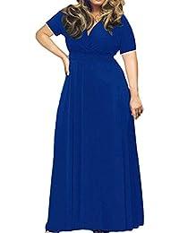 Longra Plus Size Abbigliamento Da Donna Abito Manica Corta Tinta Unita Abito  Da Sera Profondo V de21c094dd9