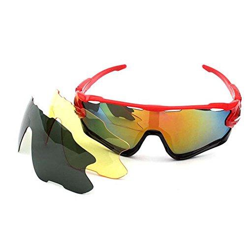 SUDOOK Polarisierte Sport-Sonnenbrille mit 3 austauschbaren Gläsern, Radfahren, Laufen, Fahren