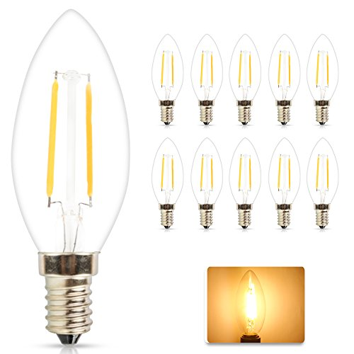 10 Stück Retro E14 LED Lampe Kerzenform Filament E14 Classic Glühfaden 2W 15 Watt-Ersatz, LED Kerzen Lampe Warmweiß 2700K-3000K,180LM (C35, Warmweiß 2W)