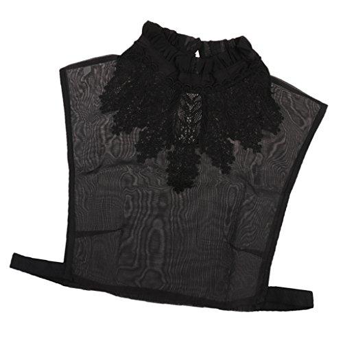 MagiDeal Frauen Kragen Abnehmbare Hälfte Shirt Bluse Weiß/Schwarz/Denim/Chiffon - Schwarz Blumen, Halbes (Shirt Denim Kostüm)