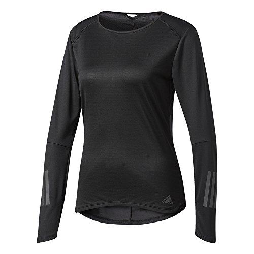 adidas Damen Response Longsleeve T-Shirt, Black, M (Long T-shirt Schwarzes Sleeve Adidas)