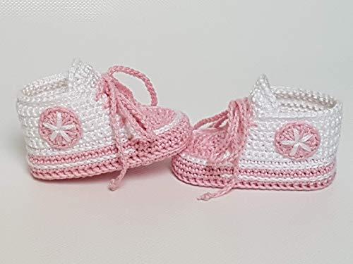 Babyschuhe gehäkelt-Sneakers-weiß/rosa-Turnschuhe-Sportschuhe-Krabbelschuhe