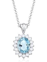 Elli Damen-Kette mit Anhänger Edelsteinkette 925 Sterling Silber Topas blau Brillantschliff 0110682314_45