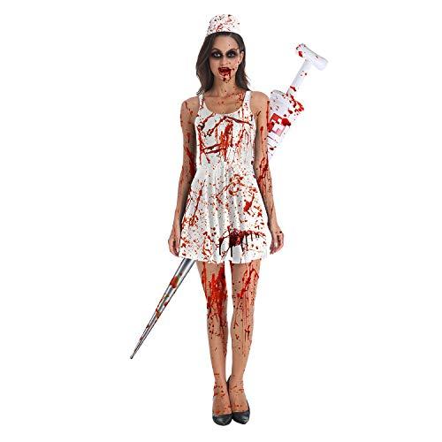 Erwachsenen Maskerade Kostüm Show Party Kleid Cosplay Krankenschwester Zombie Horror Bloody Lady Rock Europa Und Amerika Halloween,Weiß,XL