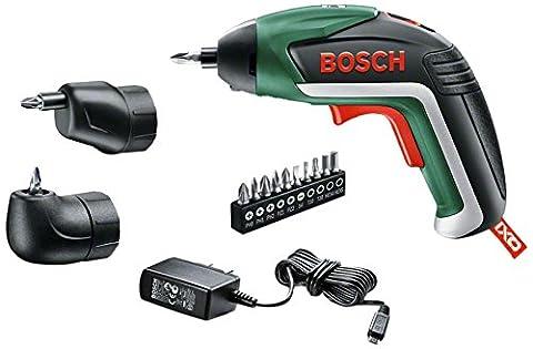Bosch Akkuschrauber IXO Set (5 Generation, Winkelaufsatz, Exzenteraufsatz, 10 Bits, USB Ladegerät, Metalldose, 3,6 Volt, 1,5 (Bosch Ixus)