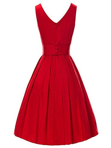 iLover 40s 50s 60s Rockabilly Solid Dress Vintage Pin-up Cocktail Soirée Balançoire V034-Rouge