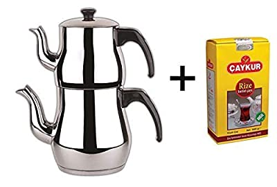 Caydanlik - Théière turque en acier inoxydable - grande taille + cadeau gratuit 500g de thé noir turc