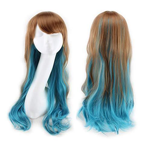 Perücke Gradient langes lockiges Haar Frauen und Mädchen Rollenspiel Partei Kostüm Perücke (braunes Pulver, braun blau),Brown+blue