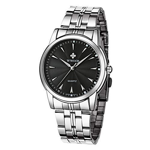 BTIHCEUOT Herren Quarzwerk Armbanduhr, Edelstahlband mit modischer Analoganzeige Wasserdichtes rundes Zifferblatt (4 Farben)(Schwarz) -