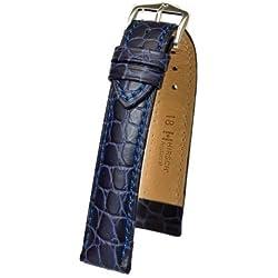 Hirsch Adlige zu tragen, L, Uhrenarmband aus Leder, Blau, 18 mm, mit Schnalle