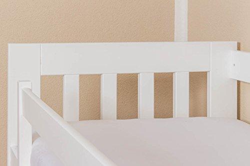 Kinderbett / Juniorbett Kiefer massiv Vollholz weiß lackiert 95, inkl. Lattenrost - 90 x 200 cm (B x L) - 6