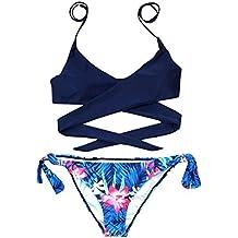 Conjuntos de bikinis de mujer traje de baño Sexy bikinis push up braga brasileño mujer Biquinis bañador natación mujer swimsuit niña Tops y Braguitas Ropa de playa Amlaiworld (Azul, S)