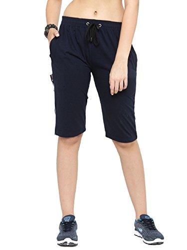 UZARUS Women's Navy Blue Cotton Sports Elastic Capris