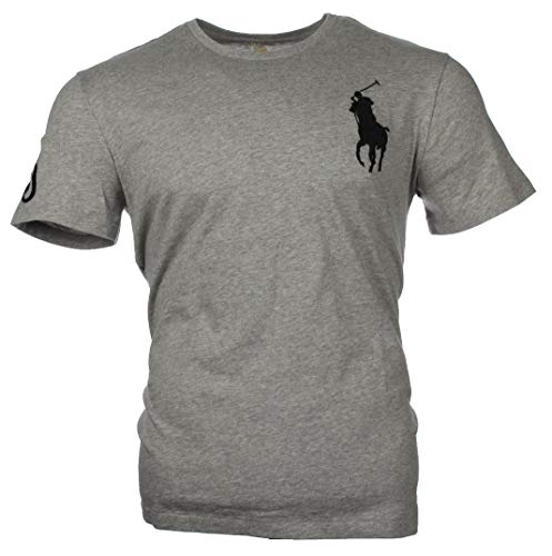 Ralph Lauren Herren T-Shirts mit Big Pony - Navy, Weiß, Grau, Pink, Hellblau, Pistazie (Grau, XL)