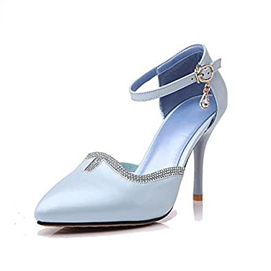 AgooLar Women's Pointed Closed Toe Buckle PU Solid Spikes Stilettos Pumps Shoes, Blue, 34