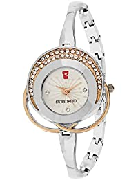 Swiss Trend silver colour designer Women's watch with jewels and bezels OLST2233