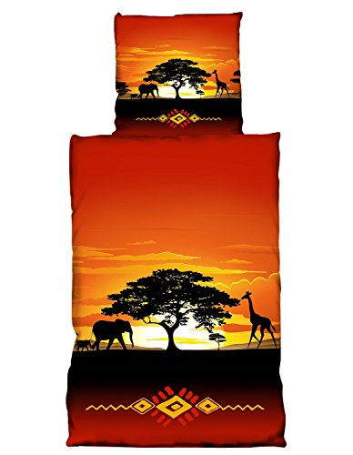 one-home 2 tlg Bettwäsche 135x200cm Afrika Safari Terra Microfaser Premiumdruck