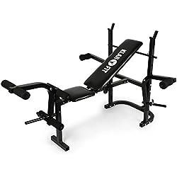 Klarfit Workout Hero Multistation • Banc d'haltérophilie • Banc de musculation • Support pour haltères • Barres de flexion pour bras et jambes • Capacité de charge max. : 160 kg • Cadre en acier