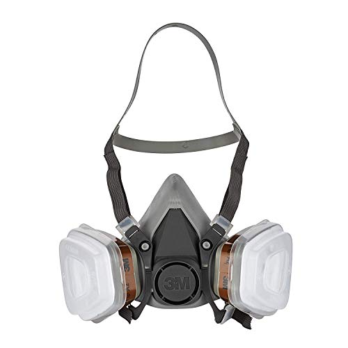 3M Mehrweg-Halbmaske 6002C - Halbmaske mit Wechselfiltern gegen organische Gase, Dämpfe und Partikel - Für Farbspritz- und Maschinenschleifarbeiten -