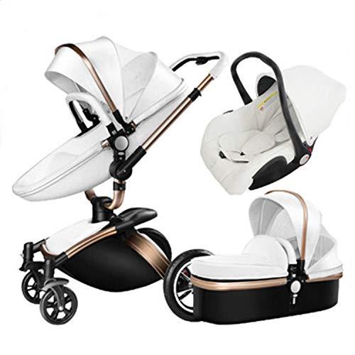 SJZQ Kinderwagen Buggy StoßFester Kinderwagen Mit 360 ° Drehung Kleinkinder Kombikinderwagen Neugeborene 1578,White-A