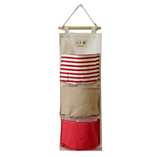 Hibote Leinen/Baumwollgewebe Hängender Aufbewahrungsbeutel Wandtür 3 Taschen Hang Organizer Tasche Zurück zu Schule Büro Schlafzimmer Küche Haus Geschenk Red