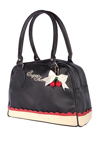 SugarShock Damen Budapester Rüschen Cherry Bow rockabilly Bowling Handtasche Tasche