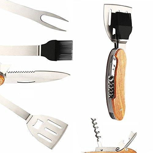 CKB Ltd® BBQ 5 in 1 Grillen & Barbecue Utensils Multi-Tool Grillwerkzeug Grillbesteck/Korkenzieher / Spatel/Flaschenöffner / Basting Pinsel/Fork - Edelstahl