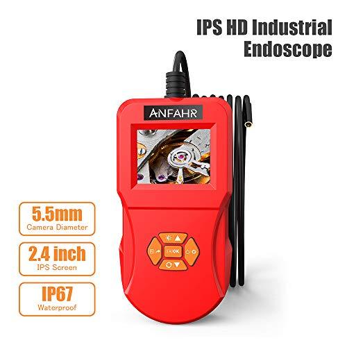 ANFAHR Industrie-Endoskop - Endoskop-Inspektionskamera, 3M 2,4-Zoll-IPS-LCD-HD-Bildschirm-Digital-Semi-Rigid-wasserdichte Videoaufzeichnungs-Handkamera mit 1,2-197-Zoll-Fokusabstand 800mAh Akku