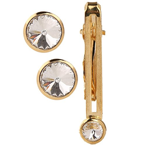 Tripin golden cufflinks for men with tie pin with swarovski elements in...