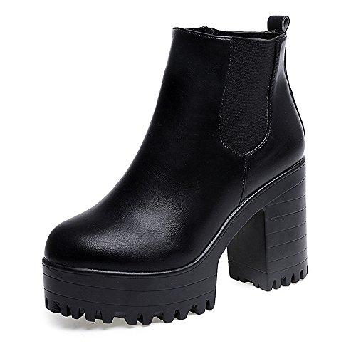 Boots Damen | Frauen Stiefel | Quadrat Fersen Plattform Leder | Schenkel Hohe | Pumpe Lädt Schuhe auf | Sunday (Schwarz, 38) (Schenkel-hoch Boot)