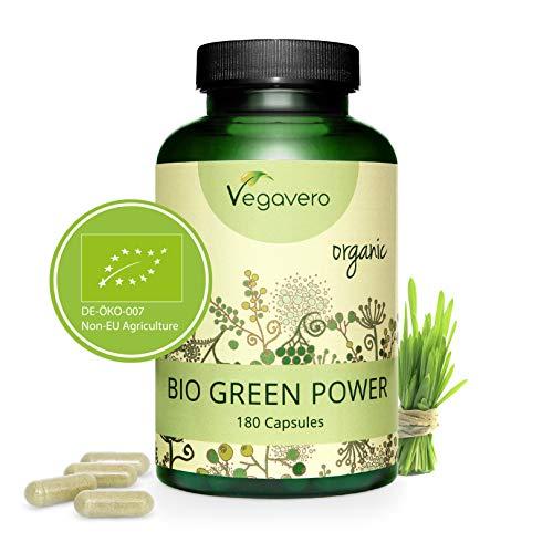 VEGAVERO® Bio Gerstengras + Bio Weizengras Kapseln | 100% BIO | Laborgeprüft | Hochdosiert | Ohne Zusatzstoffe | Reich an Nährstoffen | Vegan | Hergestellt in Deutschland | 180 Kapseln -