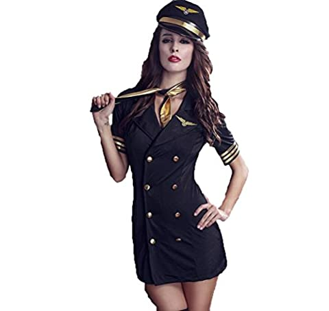 SEX WOMEN Sexy Temptation Airline Stewardess Underwear Uniforme pour la performance de scène (noir, taille libre)