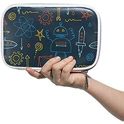 Estuche de lápices de dibujos animados Space Aliens, estuche de piel con cremallera para adolescentes, niñas, estudiantes, bolsa de papelería de gran capacidad, multifunción.