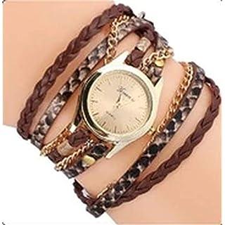 TopschnaeppchenDSH Vintage Frauen Damen Uhr mit Wickelarmband Leder (braun) Armband Quarz Analog Armbanduhr