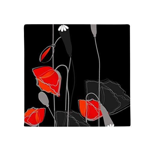 DIYthinker Fleurs Rouge abstrait Peinture Corn Poppy antidérapant Tapis de Pet de sol carré de salle de bain salon cuisine Porte 60/50 cm Cadeau, Polyester filé, multicolore, 60X60cm