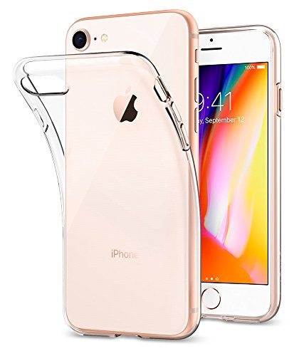 Cover iPhone 7, Cover iPhone 8, Spigen® FLESSIBLE Cover Custodia (TPU) in Silicone [Liquid Crystal], Trasparénte