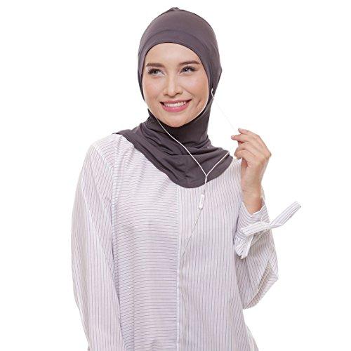 ❤️ ATTIQA - Hijab Sport für verschleierte muslimische Frauen I Kopftuch islamischen Schal Schleier Turban Pashmina Hut Schal Abaya I Cardio Fitness - Dri-FIT Stretch I Einheitsgröße Dunkelgrau