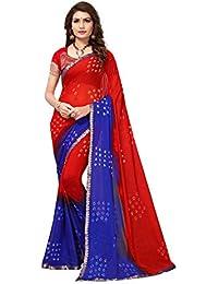 Kanchan Textiles Women's Chiffon Laheriya Style Saree With Blouse Piece (KSH BANDHANI SQUARE, Multicolour, Free...