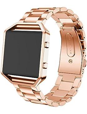 Ouneed® Uhrenarmbänder , Edelstahl Uhr Band Band Bügel + Metallrahmen für Fitbit Blaze Activity Tracker Uhr