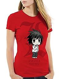 style3 L Death Note T-Shirt Femme cahier de la mort anime manga yagami