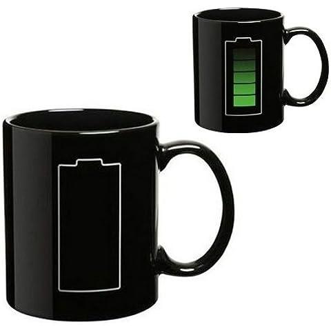 SODIAL(R) Color de la bateria Cambio de calor de la taza del termometro sensible Porcelana taza de te del cafe
