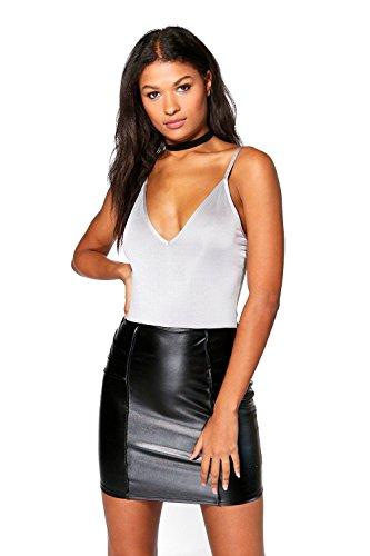 Schwarz Damen Kiara Leather Look Seam Detail Mini Skirt Schwarz