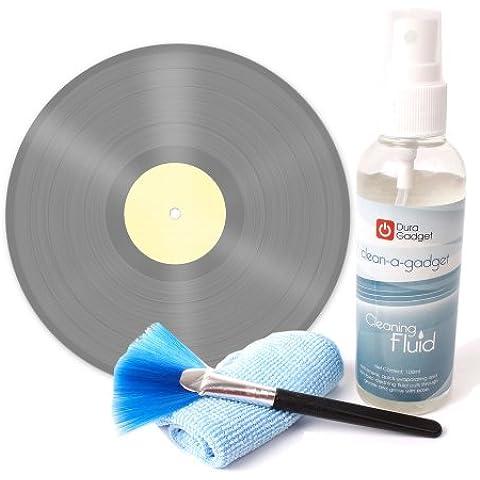 DURAGADGET Kit De Limpieza Para Discos De Vinilo | Limpiador + Paño De Microfibra + Brocha