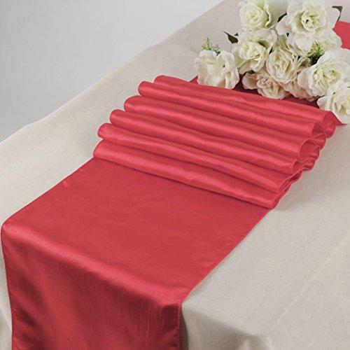 it 30,5x 274,3cm Satin Tischläufer Hochzeit Bankett Décor mehr als 30Farbe korallenrot ()