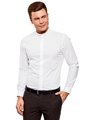 Oodji ultra uomo camicia silm fit con collo alla coreana, bianco, 42cm/it 50/eu 42/l