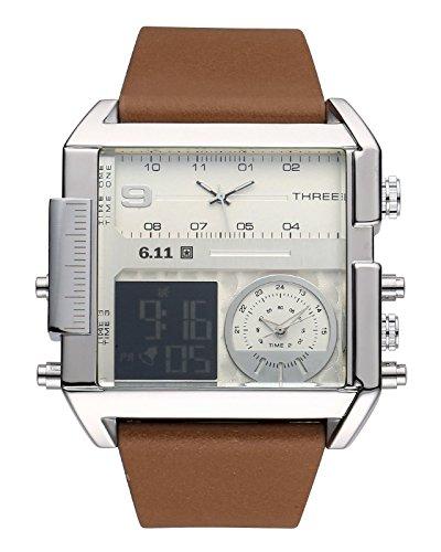 JSDDE Uhren,Herren Armbanduhr LCD Digital+Dual Quarz Uhrwerk Kalender Stoppuhr Wasserdicht Multifunktionsuhr NO.QY31-02