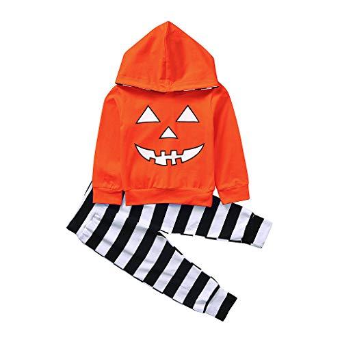 Tensay Halloween Jungen Mädchen Kürbis Hoodie T Shirt Langarm Tops + Streifen Hosen Kostüm Set -
