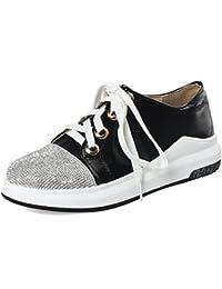 SHOWHOW Damen Bequem Paillette Lack Flach Sneakers Freizeitschuhe Rot 40 EU QNsog