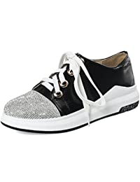 SHOWHOW Damen Bequem Paillette Lack Flach Sneakers Freizeitschuhe Rot 40 EU