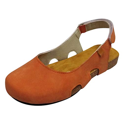 Hirschleder Gummizug (serliyFrauen aushöhlen Sandalen Vintage Haken Schleife handgemachte Mary Jane Flache Schnitzerei Mokassins Low-Heels Flache untere römische Sandalen Freizeitschuhe)